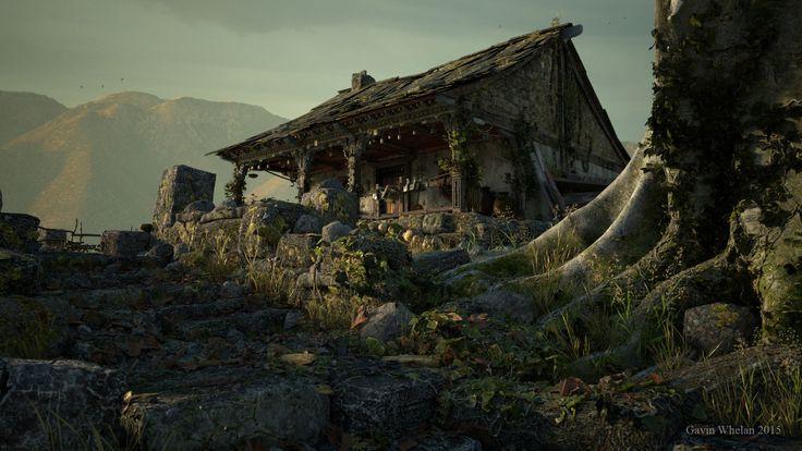 An Old Warrior's Home, gavin whelan on ArtStation at https://www.artstation.com/artwork/Nqr1N