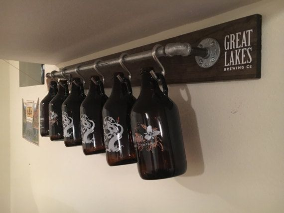 Rustic Industrial Growler Rack/Display/Storage/Organization – Perfect Gift for Dad, Boyfriend, Craft Beer Lovers!! (GROWLERS NOT INCLUDED)