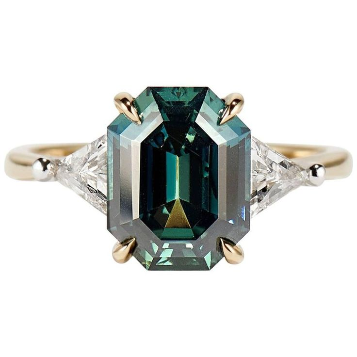 Cushla Whiting 4.27 Carat Blue Green Sapphire 'Marni' Engagement Ring | From a unique collection of vintage engagement-rings at https://www.1stdibs.com/jewelry/rings/engagement-rings/