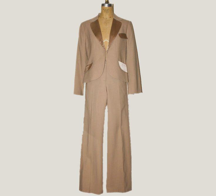 Womens Tuxedo Suit Beige Suit Satin Lapel by KleinDesignVintage on Etsy