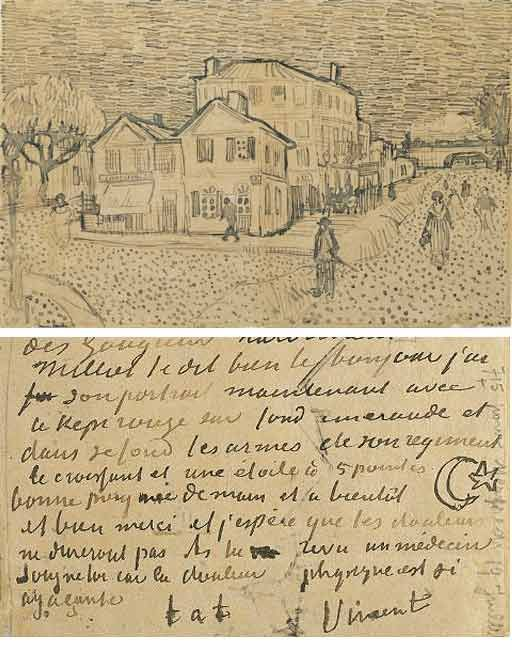 Vincent Van Gogh's drawing of his home at Arles, sketched on a letter to his brother Theo.