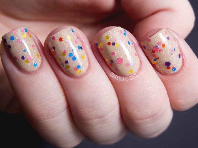 Pretty confetti nail art!