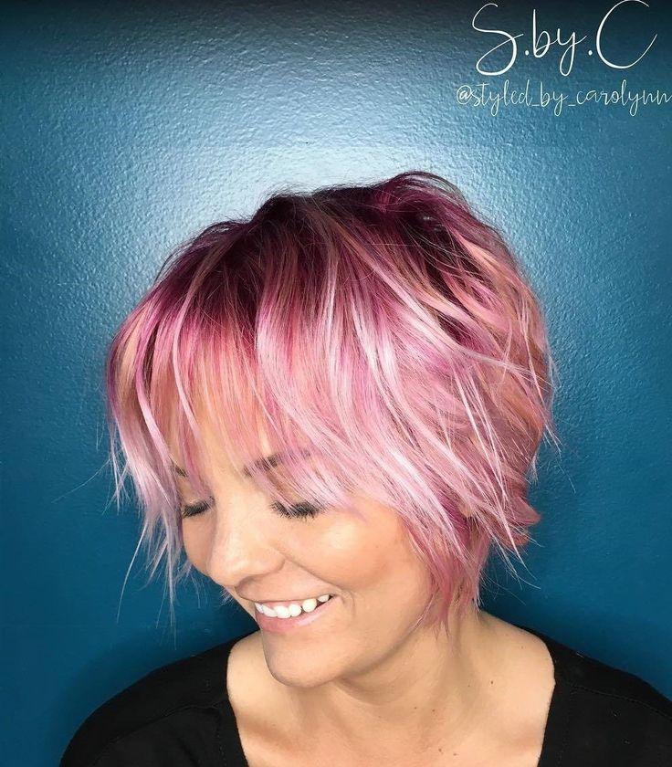 Short+Choppy+Pastel+Pink+Hairstyle