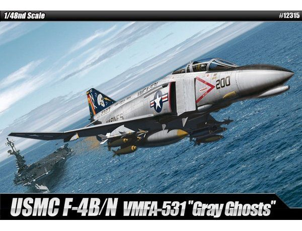 """The Academy 1/48 McDonnell Douglas F-4B/N Phantom II VMFA-531 """"Gray Ghosts"""" from the plastic aircraft model kits range accurately recreates the real life US Navy aircraft."""