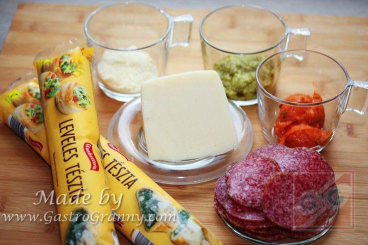 Duplapestos szalámis napraforgó pite-Hozzávalók