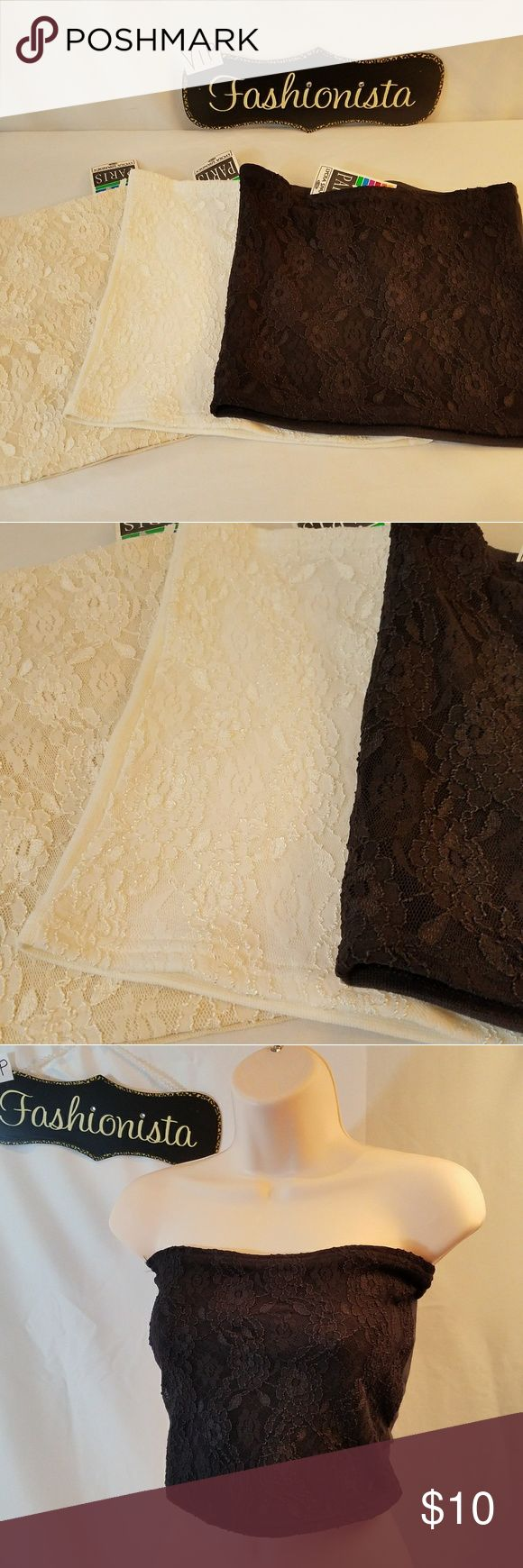 """BUNDLE PACK OF BANDEAU TOPS White, Cream and Black Bandeau Tops with Lace overlay on the front. One size fits most. Measures 10.5"""" from top to bottom. Paris Tops Tank Tops"""