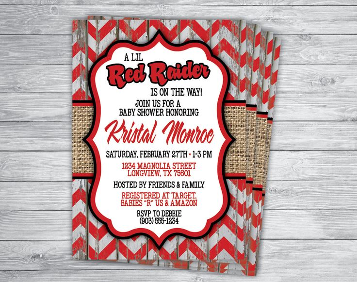 Any Event/Color TEXAS TECH BABY Announcement Party Invitation Printed Ceremony Save the Date Birthday Engagement Wedding Shower by PrintPros on Etsy https://www.etsy.com/listing/262586392/any-eventcolor-texas-tech-baby