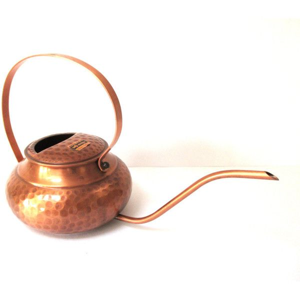 Midcentury Modern Copper Watering Can Hammered Copper Watering Can... (€67) ❤ liked on Polyvore featuring home, outdoors and garden tools