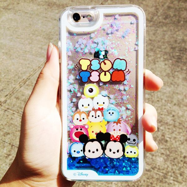 Iphone 6 Tsum Tsum Inspired Liquid Glitter Phone Case ($18) ❤ liked on Polyvore featuring accessories and tech accessories