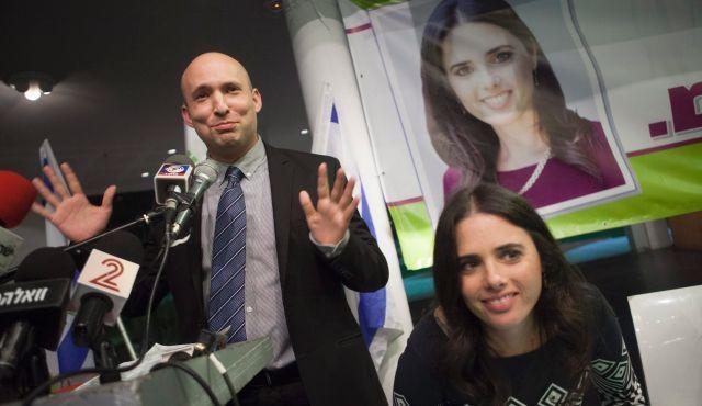 Ayelet Shaked with HaBayit HaYehudi leader Naftali Bennett  (Photo: Haaretz/Tomer Appelbaum )