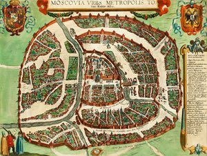 Moscow, 1617    This map (by Braun and Hogenberg) is dated to almost a century after the Russian monk Philotheus of Pskov asserted that 'Moscow is the third Rome'. It shows that the city had several structures worthy of its new imperial status. At the centre is the 90-acre Kremlin.