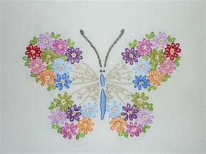 butterfly wings of lazy daisy stitches.  nice.