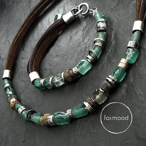 bracelet and necklace (raw sterling silver, afgan glass, amber, leather) www.formood.com
