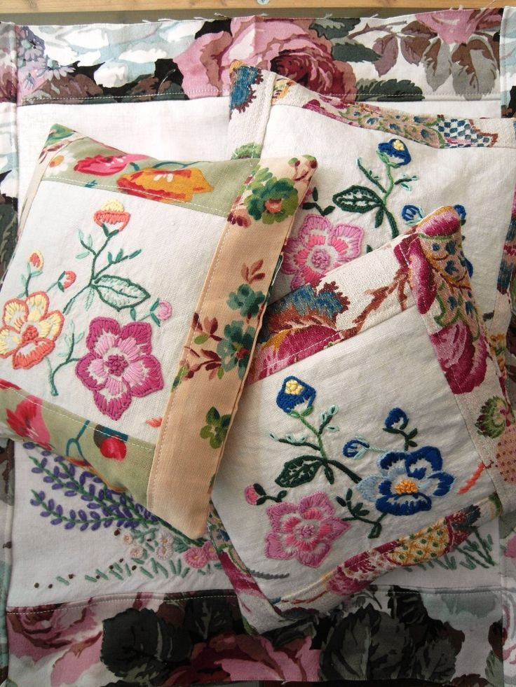 re-purposed embroidered linen cushions