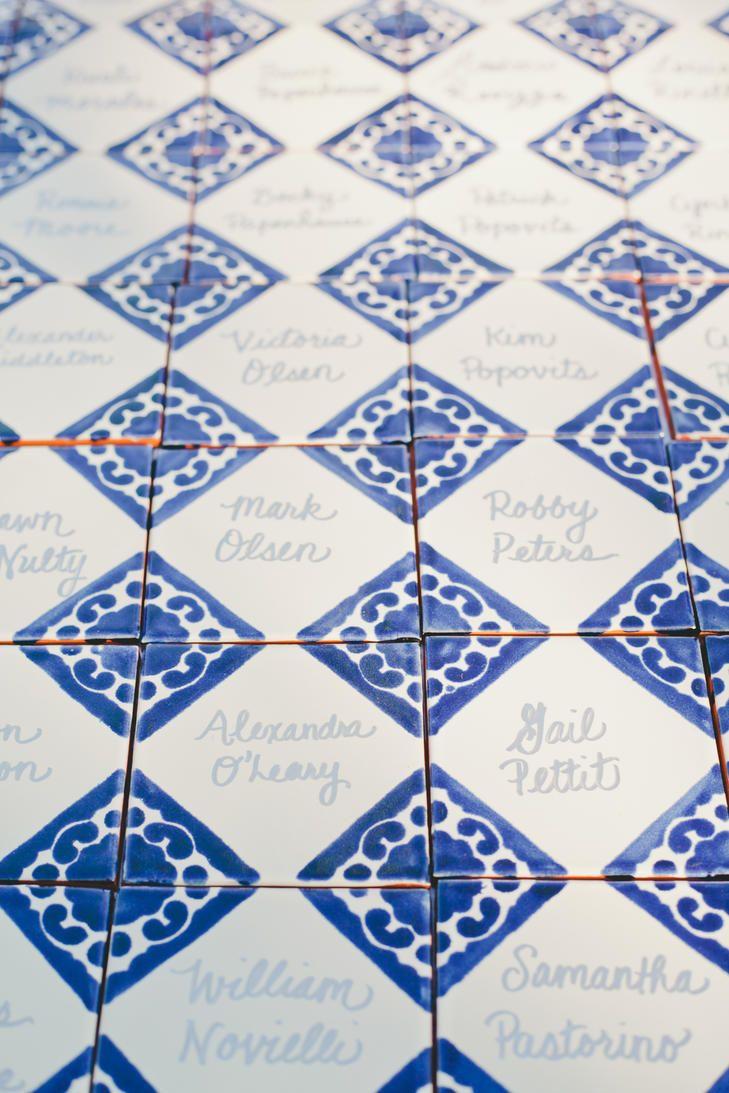 Spanish Tile Escort Cards   Photo: OneLove Photography