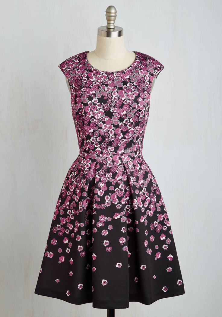 Flirty Curtsy Dress. Showcase the brightness of your politeness with this floral fit and flare from Plenty by Tracy Reese - available for purchase in November! #black #modcloth