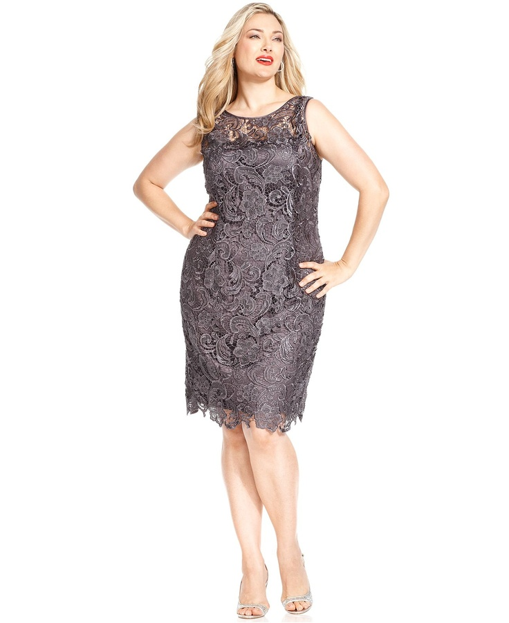 Adrianna Papell Dress, Sleeveless Lace Sheath -Macy's