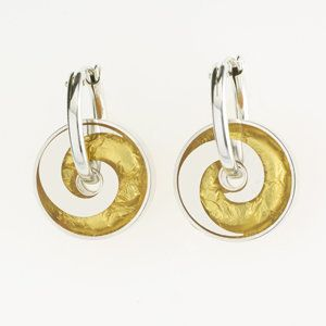 Gold Wave Pinwheel Earrings by Victoria Varga. Silver pinwheel earrings twirl from a sterling silver hinged hoop. These earrings are hand fabricated using a unique layering process combining resin and 23k gold leaf.