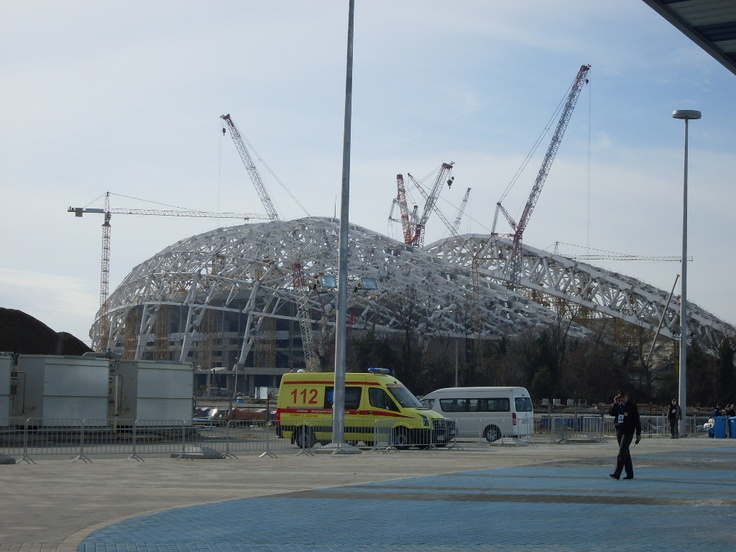 Another shot of the main stadium under construction.