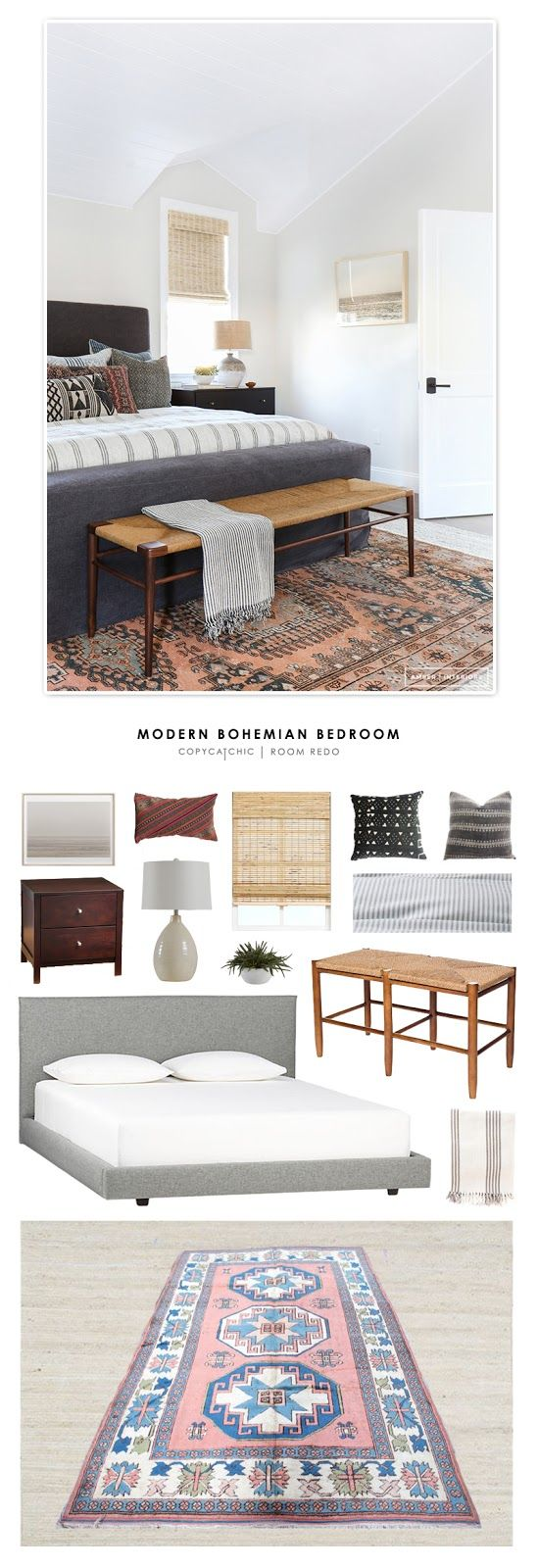 A moderrn bohemian master bedroom by Amber Lewis Interiors recreated for less by Copy Cat Chic