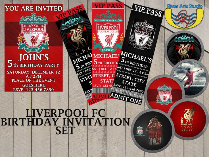 GET ALL DESIGNS -Liverpool fc set Birthday Invitation ...