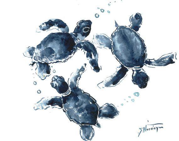 Two Sea Turtles  indigo blue wall art 14 x 11 in, asian brush painting sea turtles, Indigo blue turtles, blue wall art sea world, zen brush