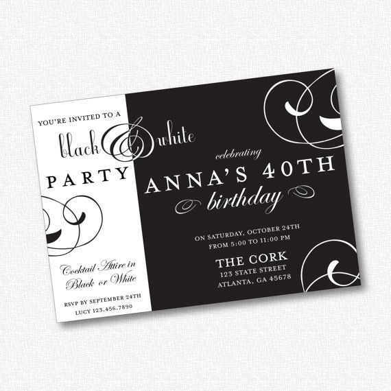 Hey, I found this really awesome Etsy listing at https://www.etsy.com/listing/159527367/black-white-party-invitation-printable