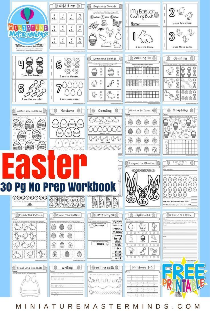 Easter No Prep Preschool And Kindergarten Worksheet 30 Page Book Free Printable Download