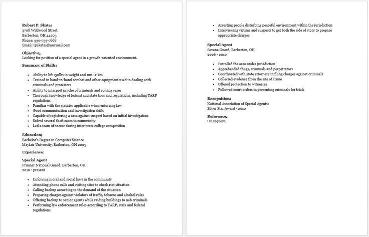 Special Agent Resume resume sample Pinterest Special agent - special agent sample resume