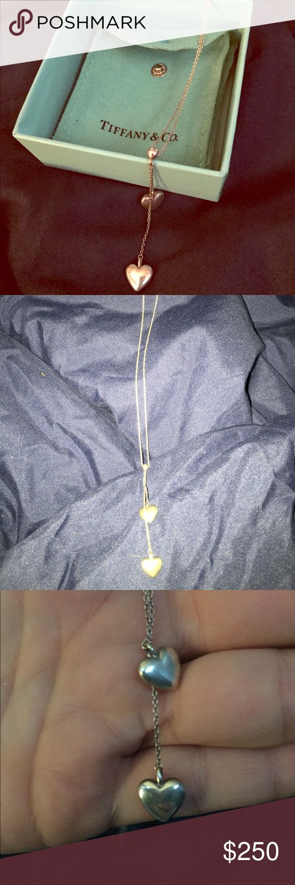 EUC Tiffany Heart Necklace💙💙💙💙 This beautiful silver necklace has two dropped hearts and hangs beautifully around your neck, hitting the perfect spot on your chest. Tiffany & Co. Jewelry Necklaces