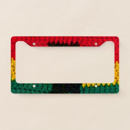 #gold - #African Jamaican Colors Unique Crochet Printed License Plate Frame