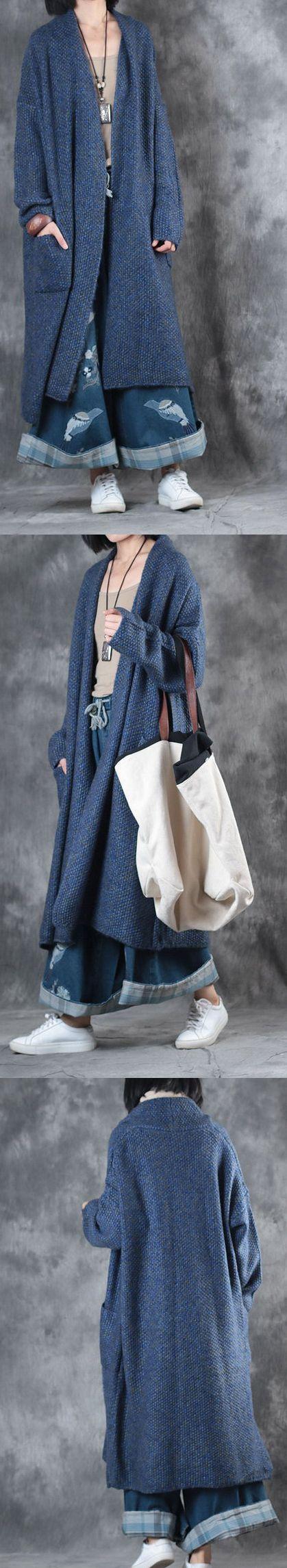 2017 new blue plus size woolen cardigan trendy sweater winter coat