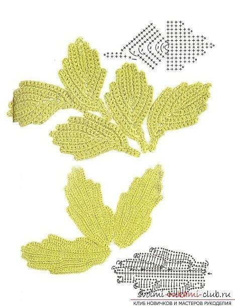 Leaves crochet + Diagrams + Video