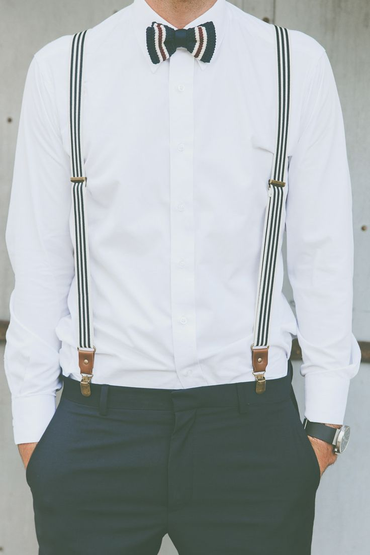Cool striped bow tie and suspenders for a groom or groomsmen for a casual, beach or nautical wedding.