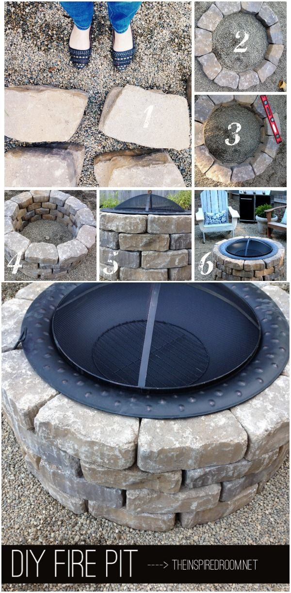 Build this easy DIY Firepit with simple tips and instructions provided!  44 stones, Metal fireplace bowl, 1) fireproof base, pea gravel, patio, brick, stones, etc  2) form first row circle check size with bowl 3) use level on each row before starting next row  4) Stack 4 rows staggering stones for stability 5) set firepit bowl on top  6) enjoy!