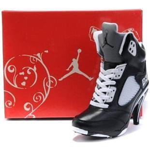 http://www.asneakers4u.com/ Air Jordan 5 High Heels Women Black White