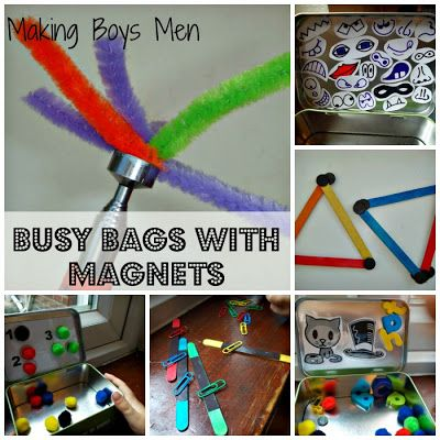 Loads of great busy bag ideas all with magnets, plus links to more busy bag ideas from Making Boys Men