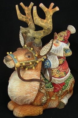 Gorgeous Hand carved & Painted Russian Santa on a DEER