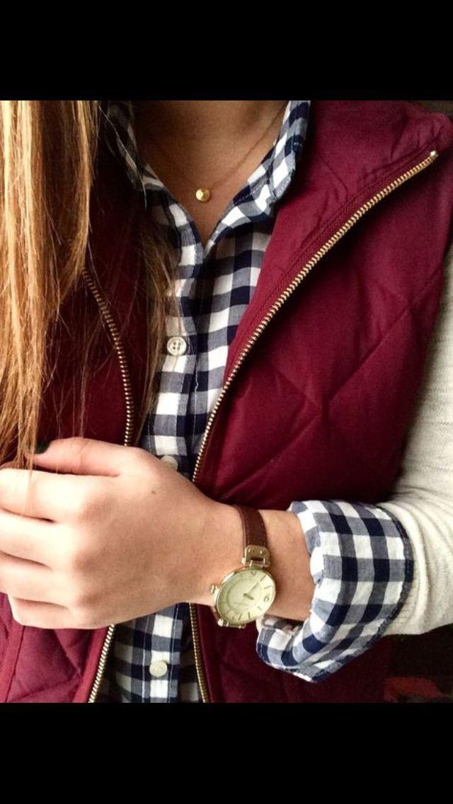 Burgundy puffer vest, houndstooth button up. Stitch fix Fall 2016