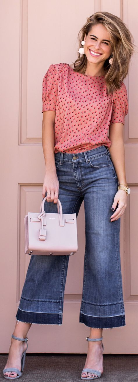 lovely outfit ideas / Pink Printed Top / Wide Denim / Light Pink Leather Tote Bag / Grey Sandals