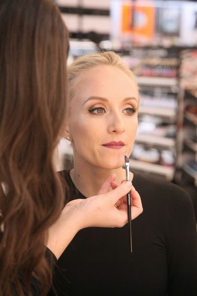 Nastia Liukin has her make up done at Sephora Makeovers Dallas on February 19, 2018 in Dallas, Texas.