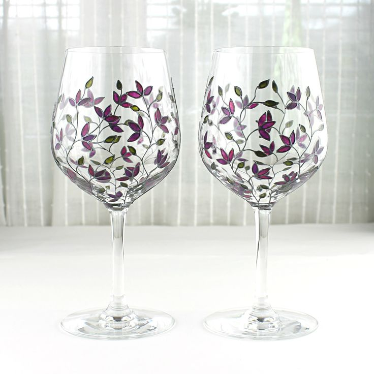 Wine Glasses, Wedding Glasses, Toasting Glasses, Painted Wine Goblets, Purple Tulips Design, Hand painted, Set of 2, Tulip Glasses by witchcorner on Etsy