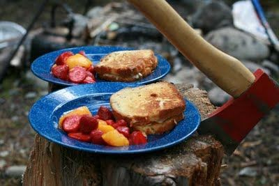 Thinkin' about camping! Pound Cake Grilled Cheese Sandwich #whoa #cheeseHot Chocolate, Granola Bar, Pound Cake