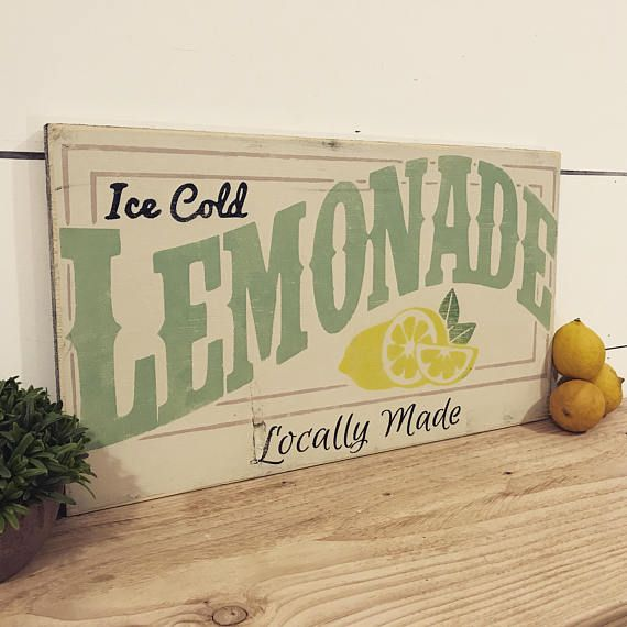 Lemonade Sign - Vintage Ice Cold Lemonade Wood Sign - Sign for Lemonade Stand - Lemonade Decor - Summer Decor - Farmhouse Sign - Summer Sign