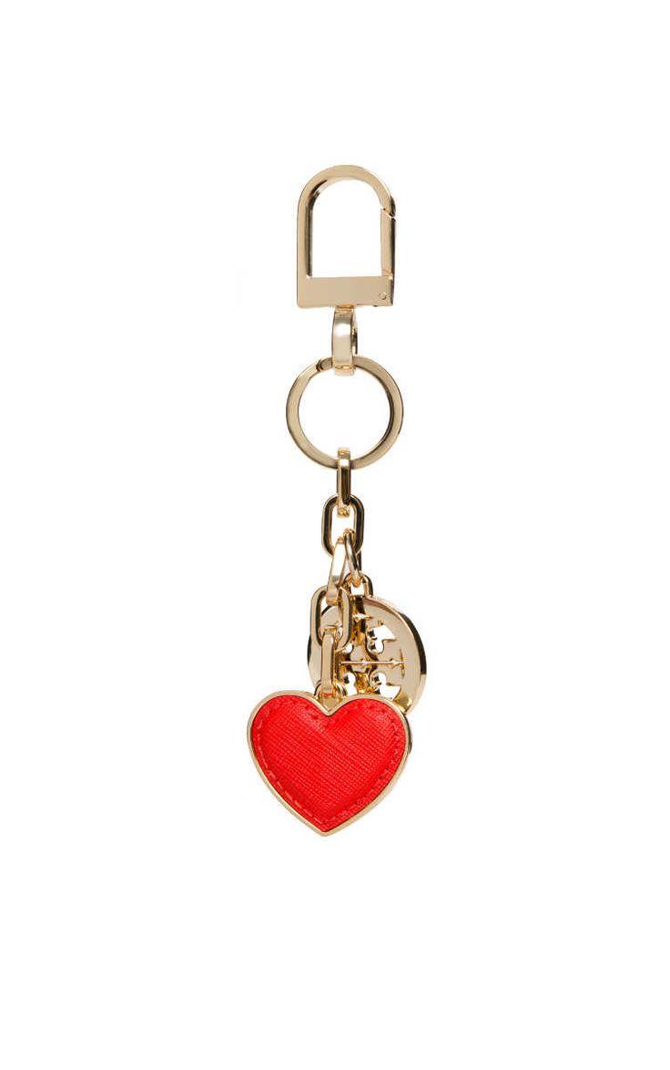 Nyckelring Logo & Heart Key Fob GOLD/RED - Tory Burch - Designers - Raglady