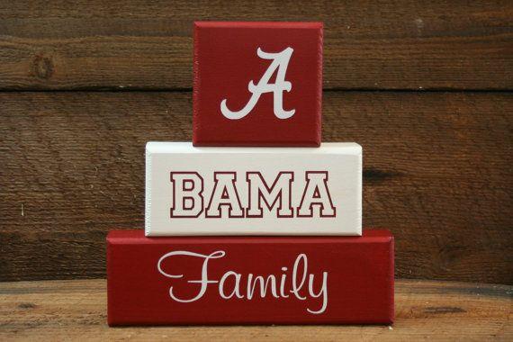 "ALABAMA Bama Family Blocks Roll Tide ""shelf sitter"" by KRCustomWoodcrafts, $25.00"