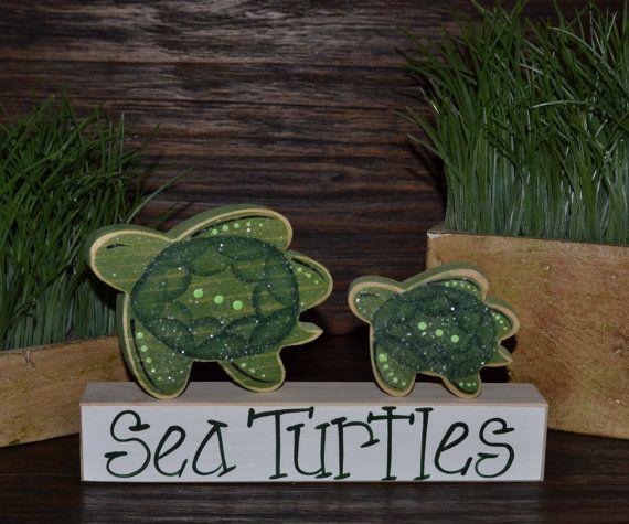 Hawaiian Sea Turtle Home Decor Block set Tortuga by BlocksOfLove1, $13.99