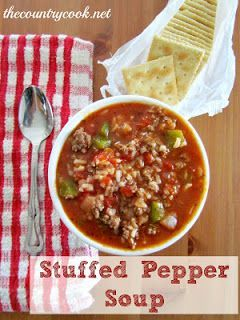 Stuffed pepper soup 1 lb ground beef; onion, bell pepper, 1 can diced tom (29 oz), 14oz chicken broth, 2 cups cooked rice, 1 tbsp sugar, garlic powder