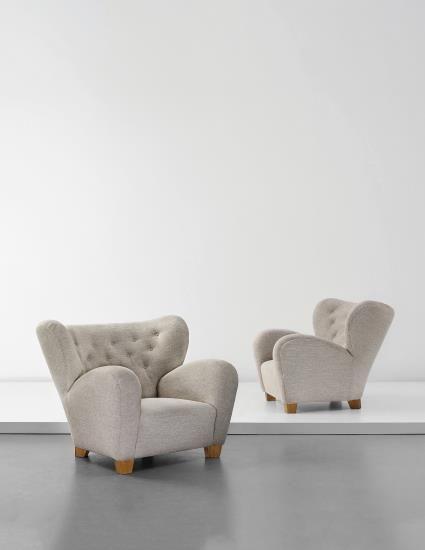 PHILLIPS : NY050115, Märta Blomstedt, Pair of armchairs, designed for the Hotel Aulanko, Hämeenlinna, Finland