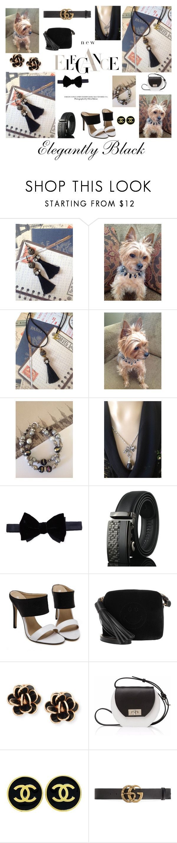 """""""Elegantly Black"""" by meeko789 on Polyvore featuring Lanvin, Anya Hindmarch, Chantecler, Joanna Maxham, Chanel and Gucci"""